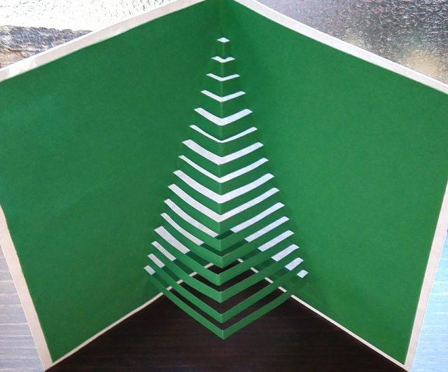 飛び出すポップアップクリスマスカード・直線クリスマスツリー